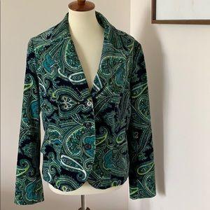 Talbots blazer jacket green blues velvet feel sz12